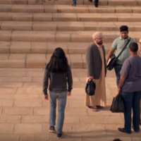 """A scene from the new Netflix series """"Messiah"""" shows main character Al-Massih, played by Mehdi Dehbi, on the Temple Mount in Jerusalem. (Screen capture: YouTube)"""