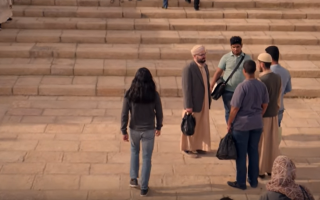 "A scene from the new Netflix series ""Messiah"" shows main character Al-Massih, played by Mehdi Dehbi, on the Temple Mount in Jerusalem. (Screen capture: YouTube)"