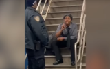 A woman, identified by the New York Police Department as Zarinah Ali, rants against Jews at a subway station in New York on December 12, 2019. (Screen capture: YouTube)