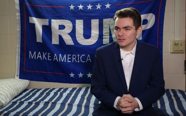 Nick Fuentes answers question during an interview with Agence France-Presse in Boston, May 9, 2016. (William Edwards/AFP via Getty Images/via JTA)