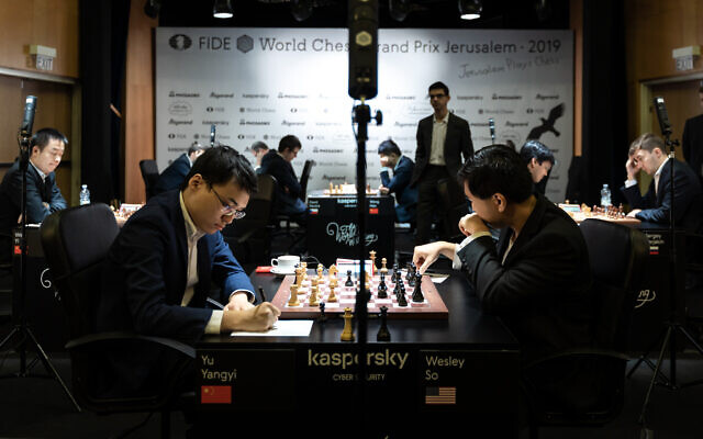 Players during the first day of the Jerusalem Grand Prix in chess, December 11, 2019. (World Chess)