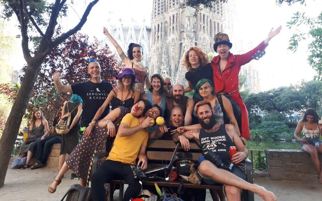 Commune members with friends in Barcelona, July 2019. Roi Frampshes-Givony (far left), Michal Frampshes-Vexler (back left), Yael Lamfrom (back right), Shir Talor (front center), Aviv Losh (front right). (Courtesy)