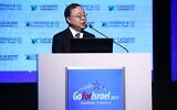 Hong Kong billionaire businessman Ronnie Chan, chairman of property developer Hang Lung Group Limited, speaking at the GoForIsrael conference in Tel Aviv on December 3, 2019 (Dror Sithahkol)