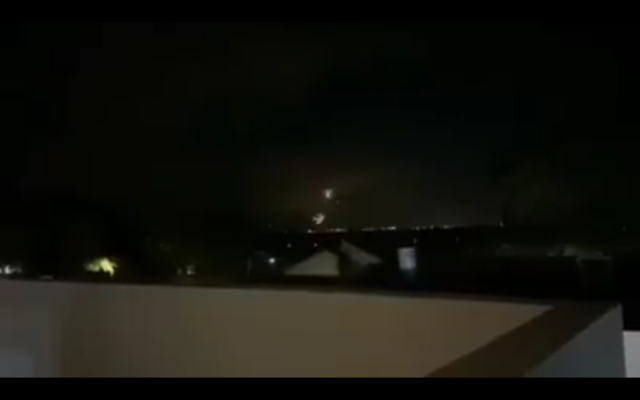 Iron Dome interceptors explode over southern Israel following rocket sirens on December 7, 2019. (Screen capture)