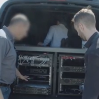 The inside of a surveillance van by Israeli firm WiSpear is seen a video released by Forbes on August 5, 2019. (Forbes)