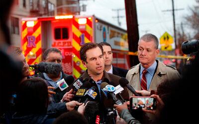 Jersey City, New Jersey Mayor Steven Fulop speaks during a press conference at the scene of the JC Kosher Supermarket shooting, December 10, 2019. (AP Photo/Eduardo Munoz Alvarez)