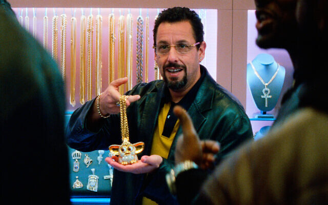 "This image released by A24 shows Adam Sandler in a scene from ""Uncut Gems."" (A24 via AP)"