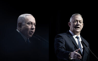 A composite photo showing Prime Minister Benjamin Netanyahu, left, and Blue and White party chief, Benny Gantz, right, speaking separately at a media conference in Jerusalem, December 8, 2019. (Yonatan Sindel/Hadash Parush/Flash90)