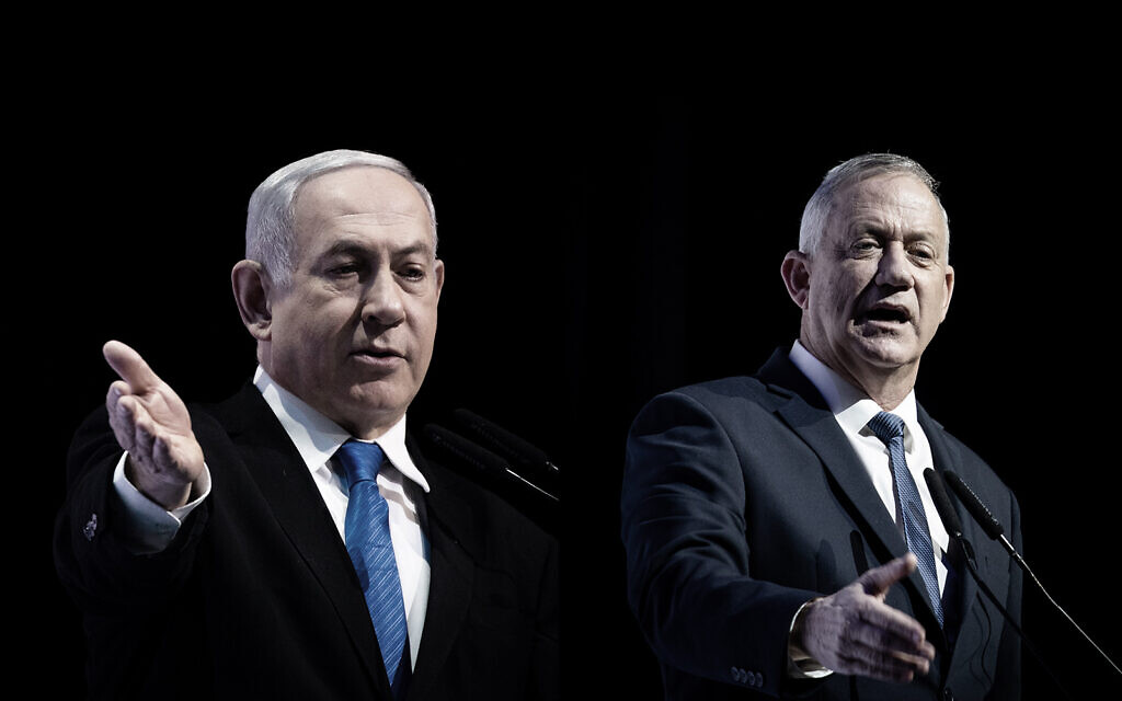 A composite photo showing Prime Minister Benjamin Netanyahu, left, and Blue and White party chief, Benny Gantz, right, speaking separately at a media conference in Jerusalem, December 8, 2019. (Yonatan Sindel/Hadas Parush/Flash90)