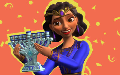 "Screenshot from Disney's ""Elena of Avalor"" Hannukah episode, ""Festival of Lights."" (Screenshot/Disney + via JTA)"