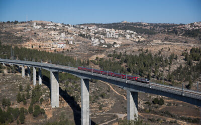 The Tel Aviv-Jerusalem train seen seen outside of Jerusalem, December 22, 2019. (Yonatan Sindel/Flash90)
