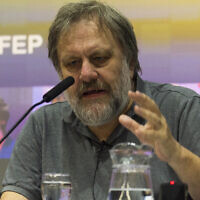 Slavoj Zizek speaks at The London School of Economics, April 20, 2016. (Ray Tang/Anadolu Agency/Getty Images via JTA)