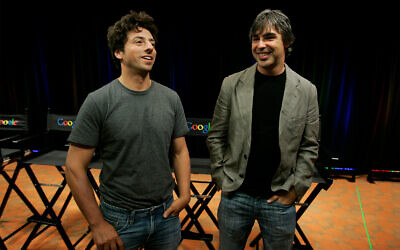 Google co-founders Sergey Brin, left, and Larry Page talk about the Google Browser, Chrome, during a news conference at Google Inc. headquarters in Mountain View, California, Sept. 2, 2008. (AP Photo/Paul Sakuma, File)