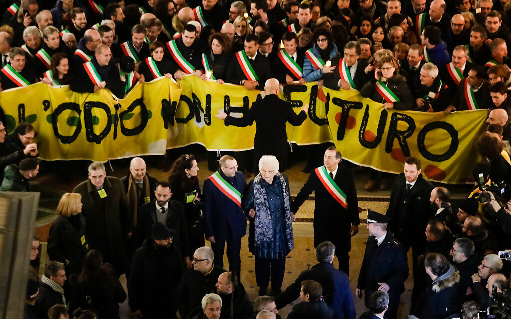 Thousands rally around threatened Holocaust survivor in Milan