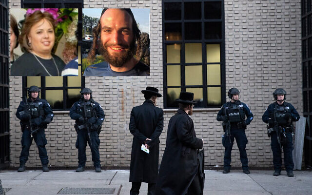 New York City police guard a Brooklyn synagogue prior to a funeral for Moshe Deutsch, December 11, 2019. Insert: Jersey City synagogue shooting victims Leah Mindel Ferencz, left, and Moshe Deutsch, right. (AP Photo/Mark Lennihan/courtesy)