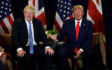 US President Donald Trump meets with British Prime Minister Boris Johnson at the United Nations General Assembly, September 24, 2019, in New York. (AP Photo/Evan Vucci)