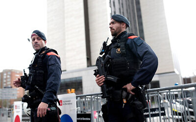 Illustrative: Spanish police in Barcelona, December 18, 2019. (AP Photo/Joan Mateu)