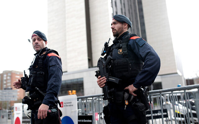 Illustrative: Spanish police in Barcelona, December 18, 2019. (AP Photo/Joan Mateu)
