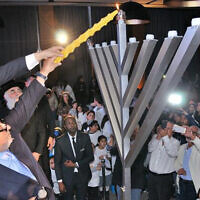 Moroccan Jews mark Hannukah in Casablanca, December 22, 2019. (Courtesy/Chabad.org)