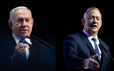 This composite photo shows Prime Minister Benjamin Netanyahu, left, and Blue and White party chief, Benny Gantz, right, speaking separately at a media conference in Jerusalem, December 8, 2019. (Yonatan Sindel/Hadash Parush/Flash90)