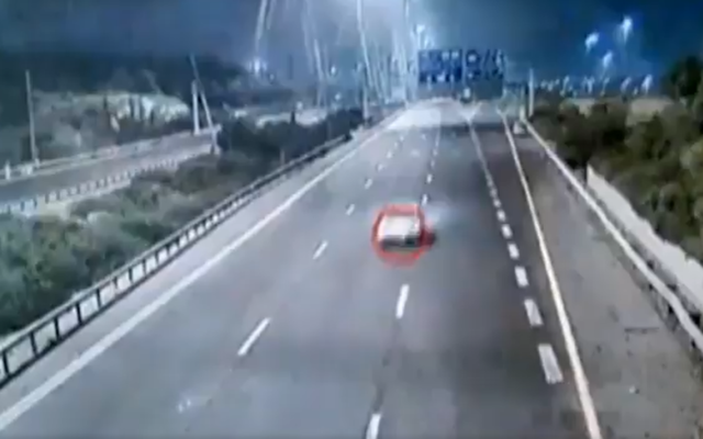 A car careening down Route 6 without brakes, in undated footage released by the Israel Police on December 1, 2019. (Screenshot: Twitter)
