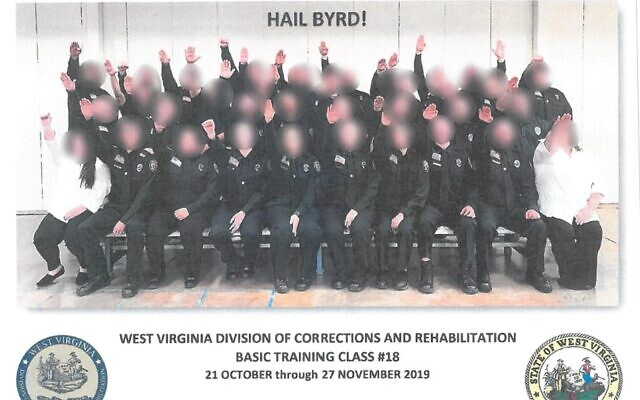 A photograph of corrections officer trainees in West Virginia performing a Nazi salute. (West Virginia Department of Military Affairs and Public Safety)