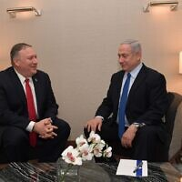 US Secretary of State Mike Pompeo, left, meeting with PM Netanyahu in Lisbon, December 4, 2019 (Kobi Gideon/GPO)