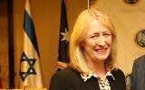 Ex-Labour MP Joan Ryan in Jerusalem, December 15, 2019 (courtesy Sivan Farage)