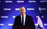 Blue and White chairman Benny Gantz speaking at a party faction meeting in Ramat Gan on December 15, 2019. (Elad Malka/Blue and White)