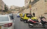 Magen David Adom rescue teams arrive at the scene of a stabbing in the East Jerusalem neighborhood of Har Homa on December 25, 2019. (Magen David Adom)