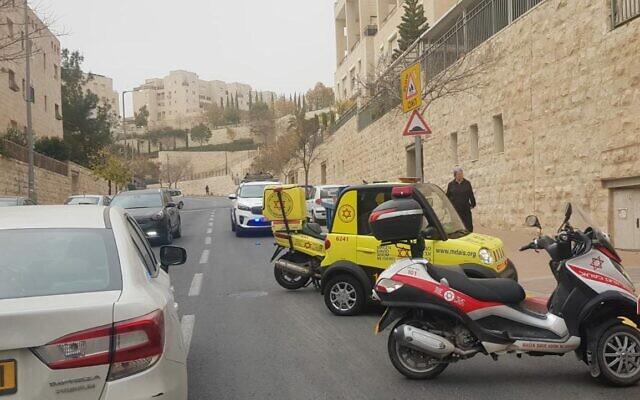 Magen David Adom rescue teams arrive at the scene of a stabbing in the East Jerusalem neighborhood of Har Homa on December 25, 2019. (Magen David Adom)