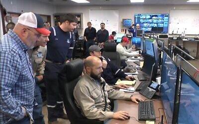 The Noble Energy control room on the Leviathan platform on December 31, 2019. (Noble Energy)