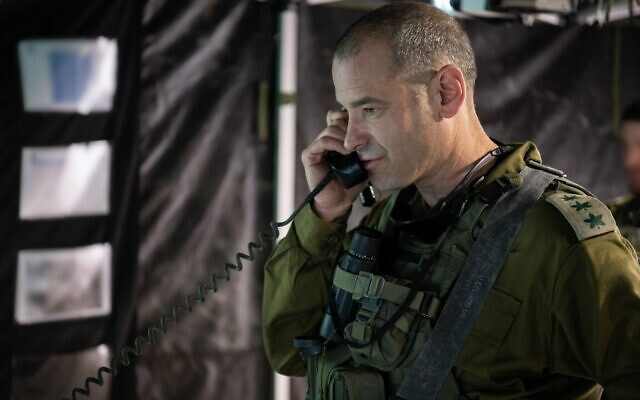 Commander of the IDF Commando Brigade Col. Kobi Heller speaks on the radio during an exercise  in Cyprus simulating war in the north in December 2019. (Israel Defense Forces)