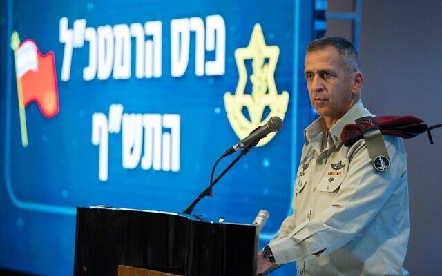 IDF Chief of Staff Aviv Kohavi speaks at an award ceremony at a military base north of Tel Aviv on December 16, 2019. (Israel Defense Forces)