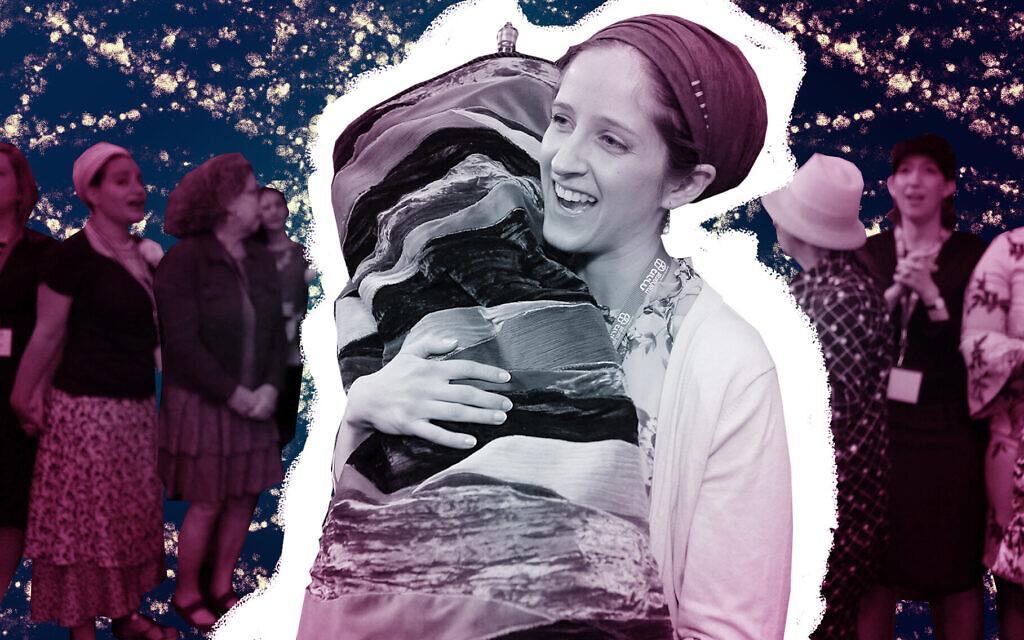 Rabbanit Jenna Englender dances with the Torah during her graduation ceremony from Yeshivat Maharat in New York, June 17, 2019. (Shulamit Seidler-Feller/Maharat; photo illustration by Grace Yagel/ JTA)