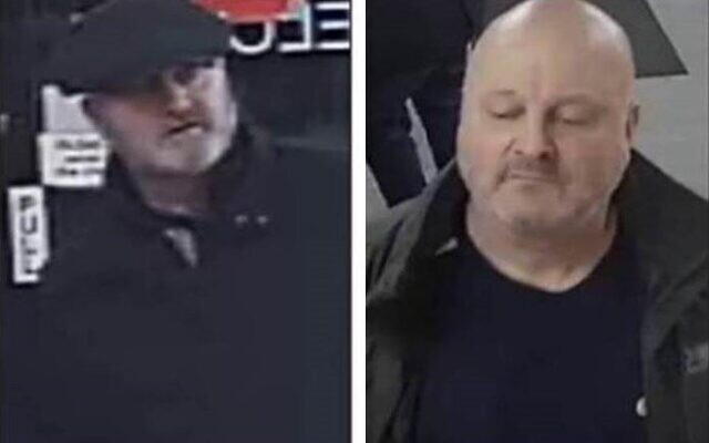 Two men British police want to identify after verbal anti-Semitic attack on November 17, 2019 (Greater Manchester Police from CCTV footage)