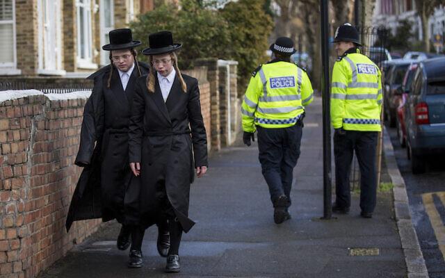 Illustrative: Jewish men in the Stamford Hill area of London, January 17, 2015. (Rob Stothard/Getty Images/via JTA)