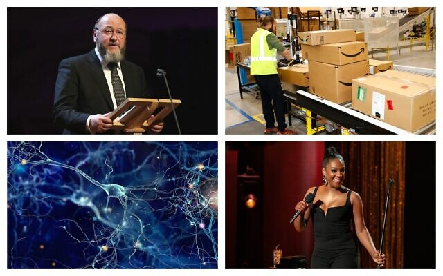 Clockwise from top left: British Chief Rabbi Ephraim Mirvis (AP/Chris Jackson); An Amazon fulfillment center in Aurora, Colorado (AP Photo/David Zalubowski); Tiffany Haddish in her 2019 Netflix comedy special, 'Black Mitzvah,' (Courtesy Netflix); An illustrative image of neurons, or brain cells (whitehoune; iStock by Getty Images).