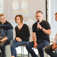 Right to left: Qumra Capital growth fund managing partner Erez Shachar, Fiverr's Micha Kaufman; Eynat Guez, CEO of Papaya Global and Yuval Kaminka, co-founder and CEO of JoyTunes, Tel Aviv December 30, 2019 (Yarin Teranos)