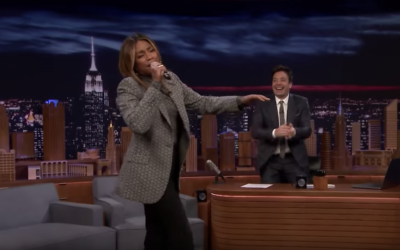 "Tiffany Haddish (L) singing on ""The Tonight Show"" on December 1, 2019. (Screenshot from YouTube via JTA)"