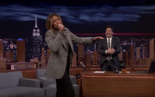 "Tiffany Haddish (L) singing on ""The Tonight Show"" on December 1, 2019. (Screenshot from YouTube via JTA)"
