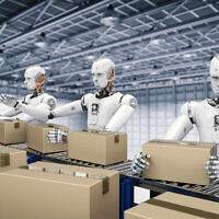 Illustrative image of robots working with carton boxes on a conveyor belt (PhonlamaiPhoto; iStock by Getty Images)