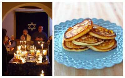 Left: In an undated photo from recent years, Jews celebrate Hanukkah at Sinagoga Ner Tamid del Sud in Calabria, the first active synagogue since the area's Jews were expelled in the Inquisition 500 years ago. (Courtesy Rabbi Barbara Aiello); Right: Cassola, or ricotta pancakes, for Hanukkah by food blogger Tori Avey. (Courtesy Avey)