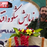 IRGC General Allahnoor Noorollahi in a speech at Bushehr in southern Iran on November 29, 2019, broadcast on Bushehr TV. (MEMRI screen capture)