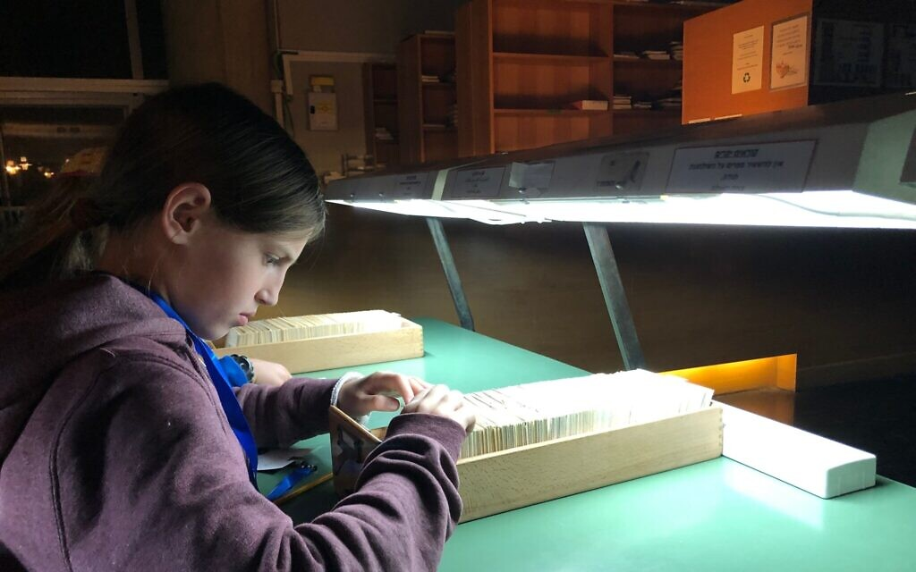 Michal Dan (10) discovers a missing clue in a card catalog at the National Library's Night in the Library Hanukkah program, December 23, 2019. (Amanda Borschel-Dan/Times of Israel)
