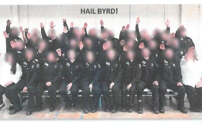 These 34 correction officer trainees from West Virginia were photographed giving a Nazi salute. They were subsequently fired. (West Virginia Department of Military Affairs and Public Safety)