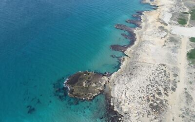 Aerial view of the Rosh Hanikra-Achziv marine nature reserve. (Shai Cabassa, Israel Nature and Parks Authority)