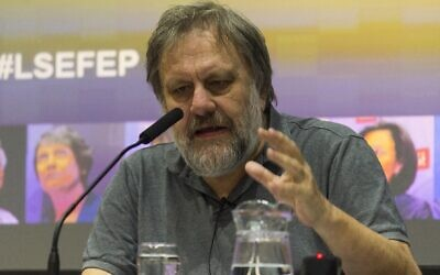 Slavoj Zizek speaks at the London School of Economics, April 20, 2016. (Ray Tang/Anadolu Agency/Getty Images/via JTA)