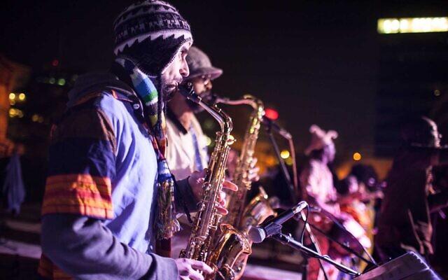 Street musicians performing at last year's 6th Night Festival in Tel Aviv's Neve Shaanan neighborhood (Courtesy City of Tel Aviv-Jaffa)