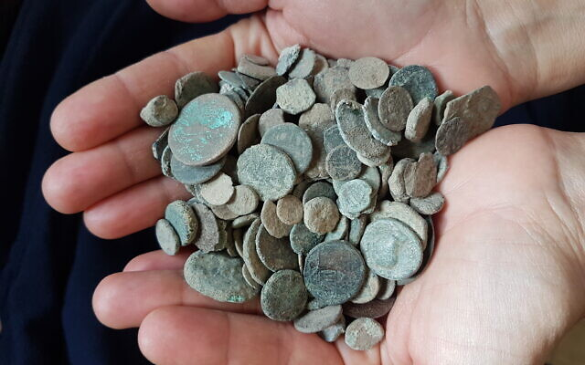 From the trove of coins found in the home of a suspected antiquities thief from Kfar Kana, January 2020. (Yaron Bibas/IAA)
